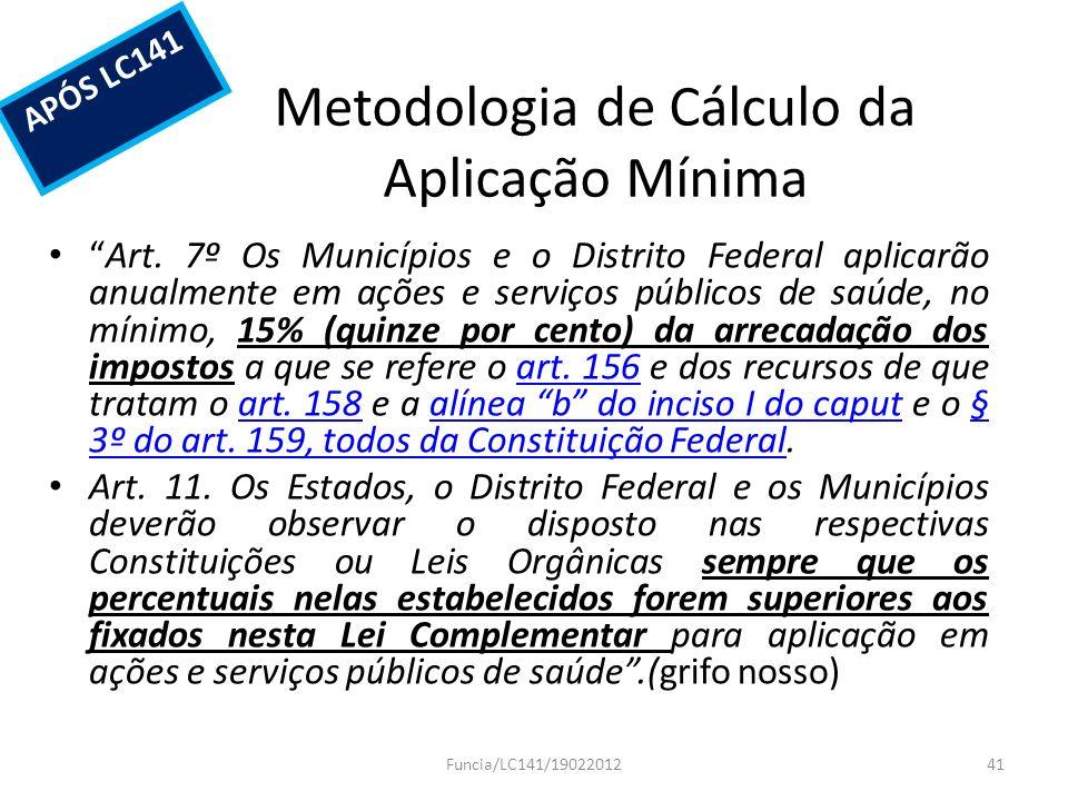 Metodologia de Cálculo da Aplicação Mínima Art. 7º Os Municípios e o Distrito Federal aplicarão anualmente em ações e serviços públicos de saúde, no m