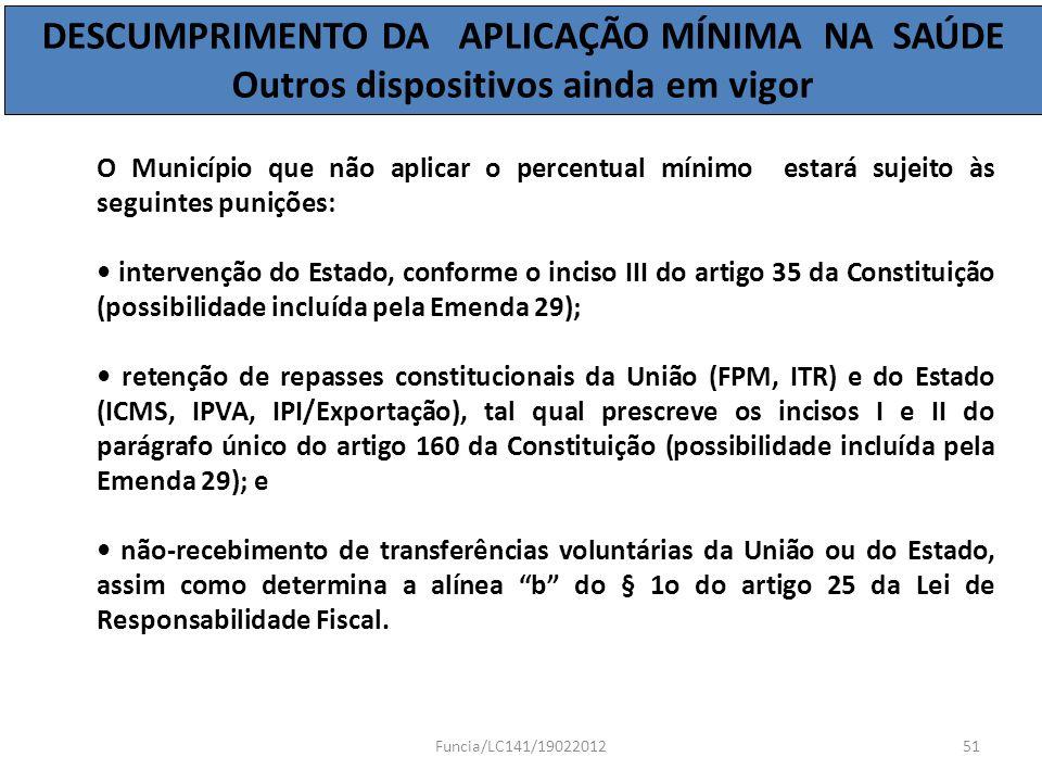 O Município que não aplicar o percentual mínimo estará sujeito às seguintes punições: intervenção do Estado, conforme o inciso III do artigo 35 da Con