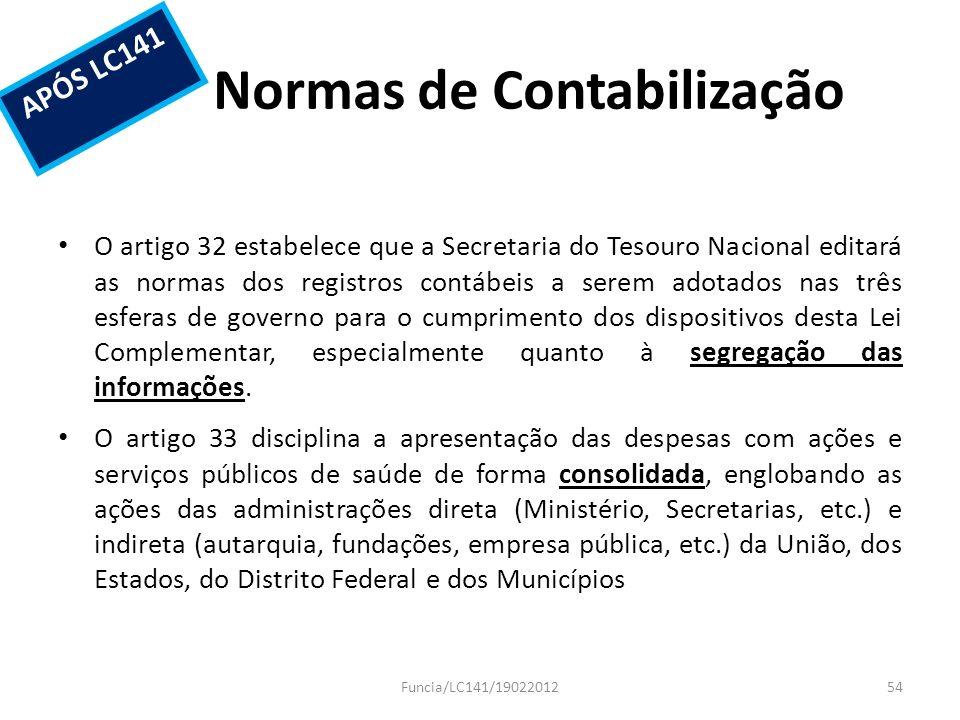 Normas de Contabilização O artigo 32 estabelece que a Secretaria do Tesouro Nacional editará as normas dos registros contábeis a serem adotados nas tr