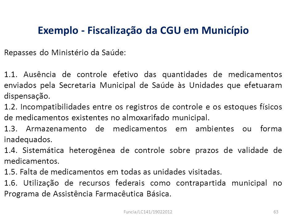 Exemplo - Fiscalização da CGU em Município Repasses do Ministério da Saúde: 1.1. Ausência de controle efetivo das quantidades de medicamentos enviados