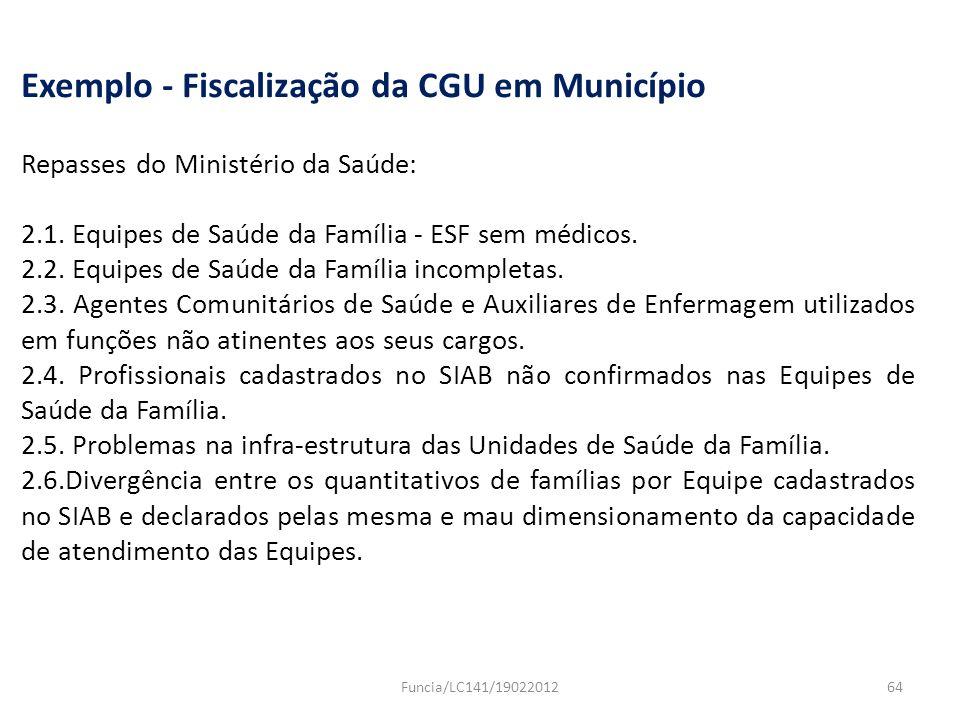Exemplo - Fiscalização da CGU em Município Repasses do Ministério da Saúde: 2.1. Equipes de Saúde da Família - ESF sem médicos. 2.2. Equipes de Saúde