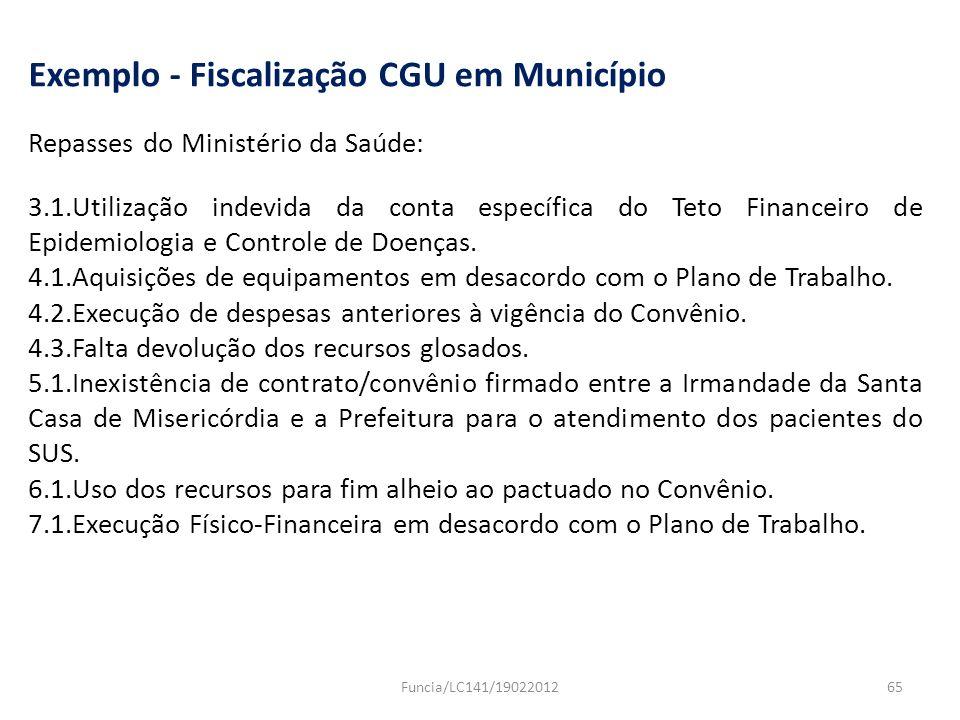 Exemplo - Fiscalização CGU em Município Repasses do Ministério da Saúde: 3.1.Utilização indevida da conta específica do Teto Financeiro de Epidemiolog