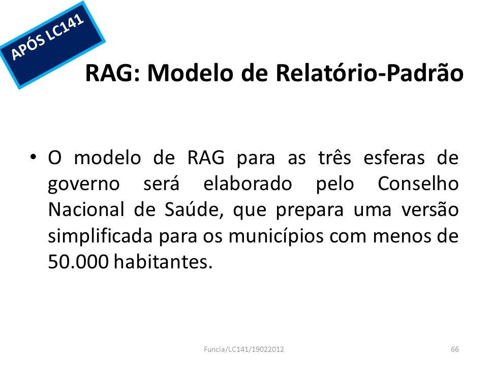 RAG: Modelo de Relatório-Padrão O modelo de RAG para as três esferas de governo será elaborado pelo Conselho Nacional de Saúde, que prepara uma versão