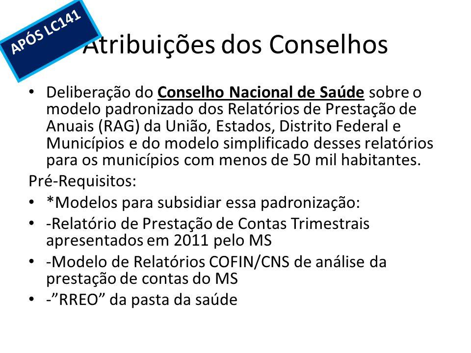 Atribuições dos Conselhos Deliberação do Conselho Nacional de Saúde sobre o modelo padronizado dos Relatórios de Prestação de Anuais (RAG) da União, E