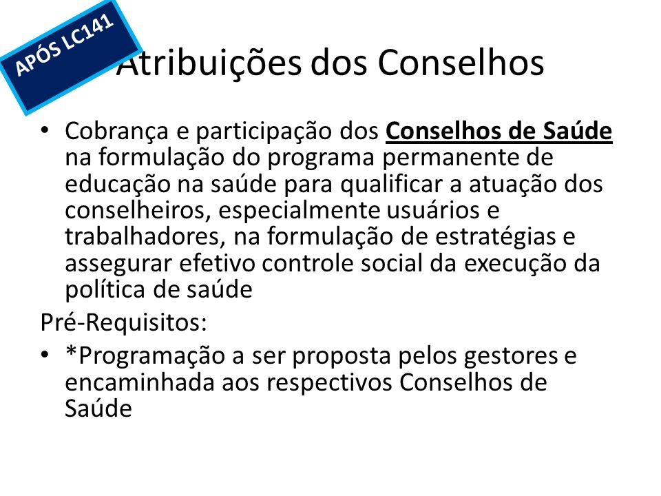 Atribuições dos Conselhos Cobrança e participação dos Conselhos de Saúde na formulação do programa permanente de educação na saúde para qualificar a a