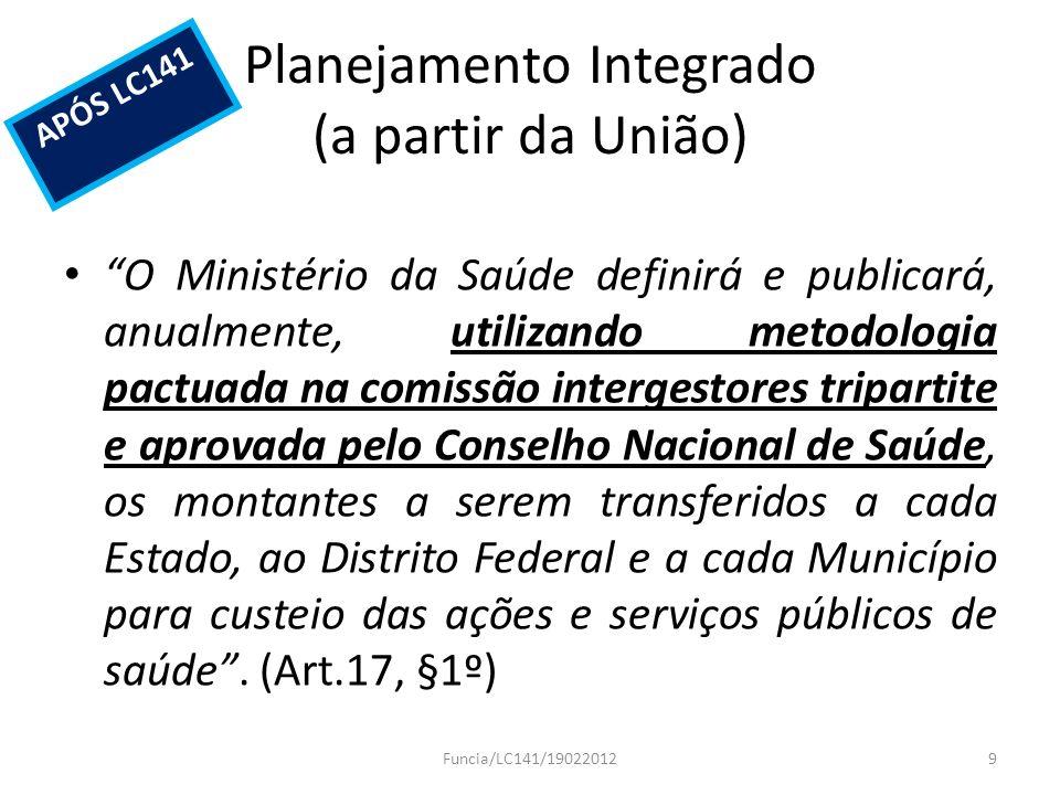 Planejamento Integrado (a partir da União) O Ministério da Saúde definirá e publicará, anualmente, utilizando metodologia pactuada na comissão interge