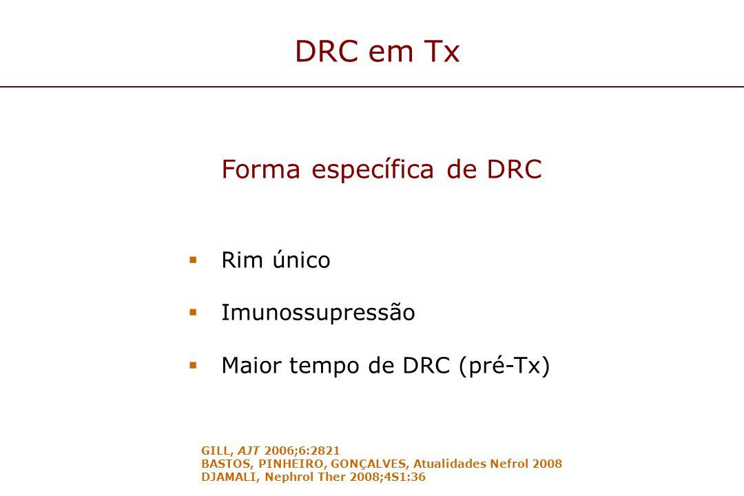 DRC em Tx Forma específica de DRC Rim único Imunossupressão Maior tempo de DRC (pré-Tx) GILL, AJT 2006;6:2821 BASTOS, PINHEIRO, GONÇALVES, Atualidades
