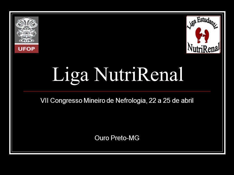 Liga NutriRenal VII Congresso Mineiro de Nefrologia, 22 a 25 de abril Ouro Preto-MG