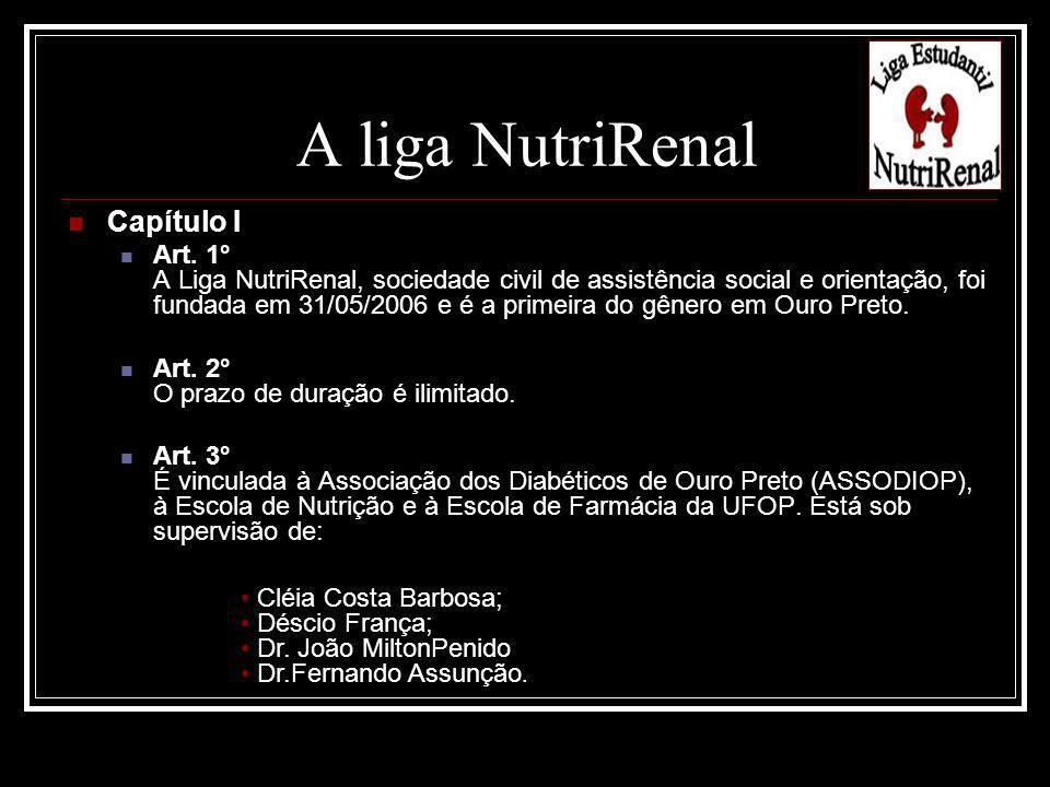 Capítulo I Art. 1° A Liga NutriRenal, sociedade civil de assistência social e orientação, foi fundada em 31/05/2006 e é a primeira do gênero em Ouro P