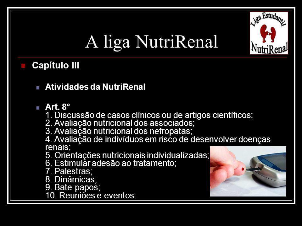 Capítulo III Atividades da NutriRenal Art. 8° 1. Discussão de casos clínicos ou de artigos científicos; 2. Avaliação nutricional dos associados; 3. Av