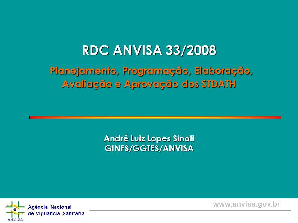 Agência Nacional de Vigilância Sanitária www.anvisa.gov.br RDC ANVISA 33/2008 Planejamento, Programação, Elaboração, Avaliação e Aprovação dos STDATH
