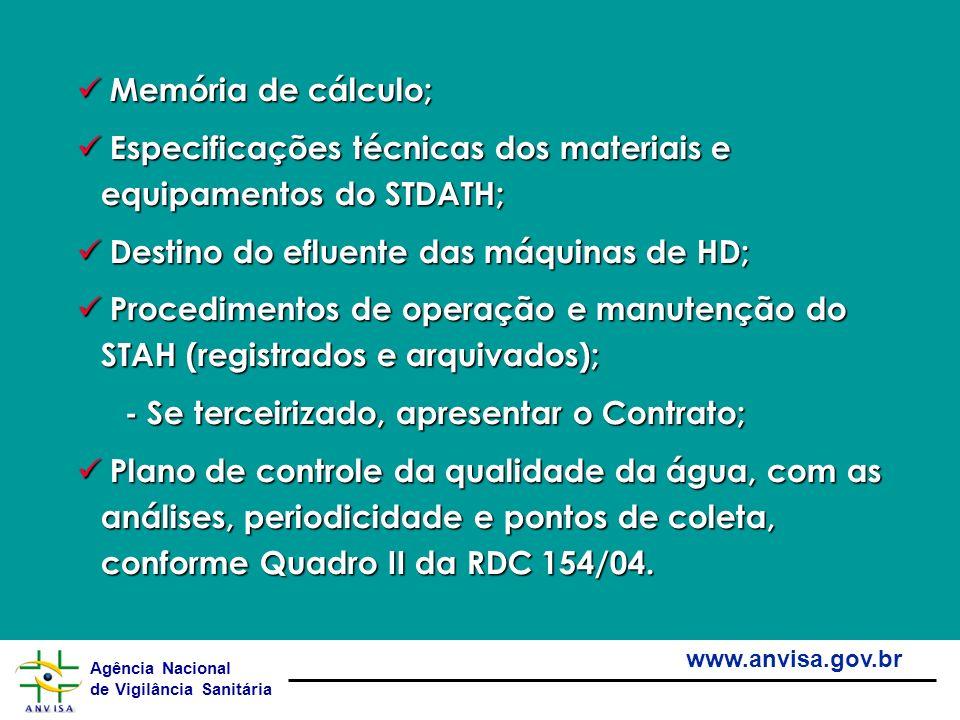 Agência Nacional de Vigilância Sanitária www.anvisa.gov.br Memória de cálculo; Memória de cálculo; Especificações técnicas dos materiais e equipamento