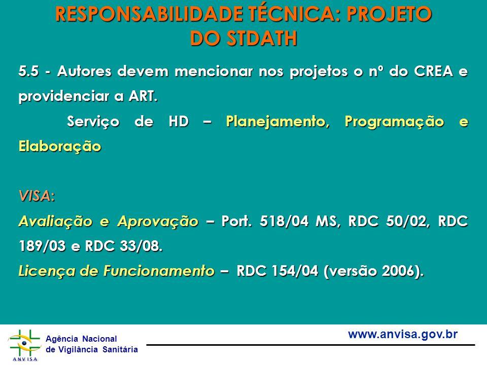 Agência Nacional de Vigilância Sanitária www.anvisa.gov.br 5.5 - Autores devem mencionar nos projetos o nº do CREA e providenciar a ART. Serviço de HD
