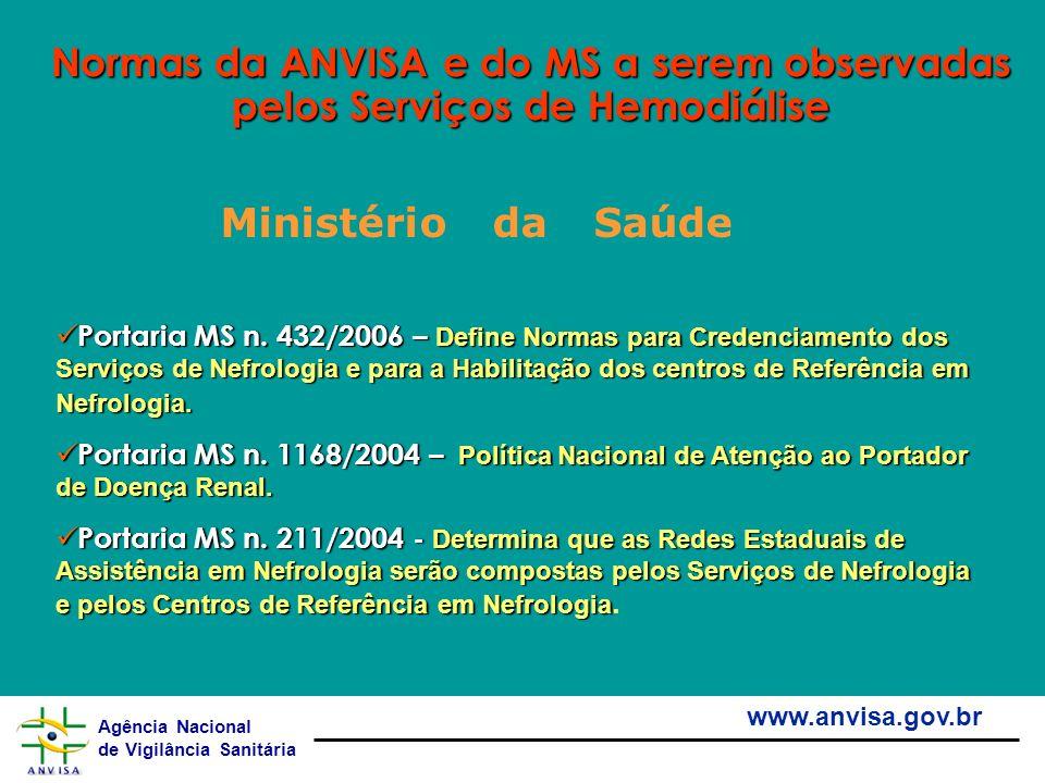 Agência Nacional de Vigilância Sanitária www.anvisa.gov.br Normas da ANVISA e do MS a serem observadas pelos Serviços de Hemodiálise Portaria MS n. 43