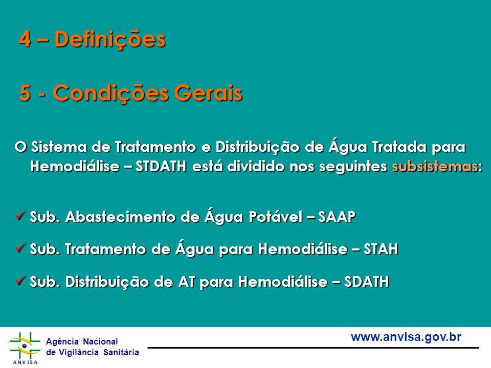 Agência Nacional de Vigilância Sanitária www.anvisa.gov.br O Sistema de Tratamento e Distribuição de Água Tratada para Hemodiálise – STDATH está divid