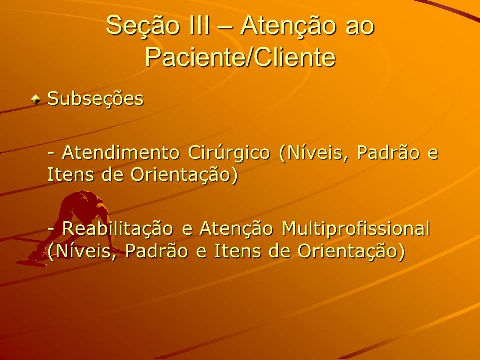 Seção III – Atenção ao Paciente/Cliente Subseções - Atendimento Cirúrgico (Níveis, Padrão e Itens de Orientação) - Reabilitação e Atenção Multiprofiss