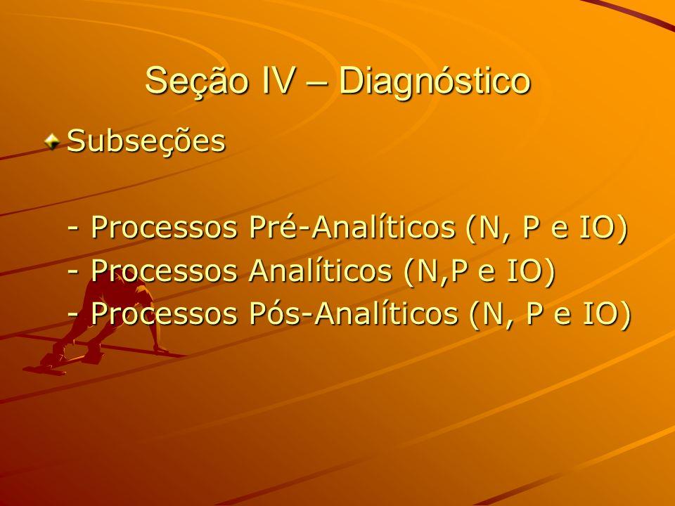 Seção IV – Diagnóstico Subseções - Processos Pré-Analíticos (N, P e IO) - Processos Analíticos (N,P e IO) - Processos Pós-Analíticos (N, P e IO)