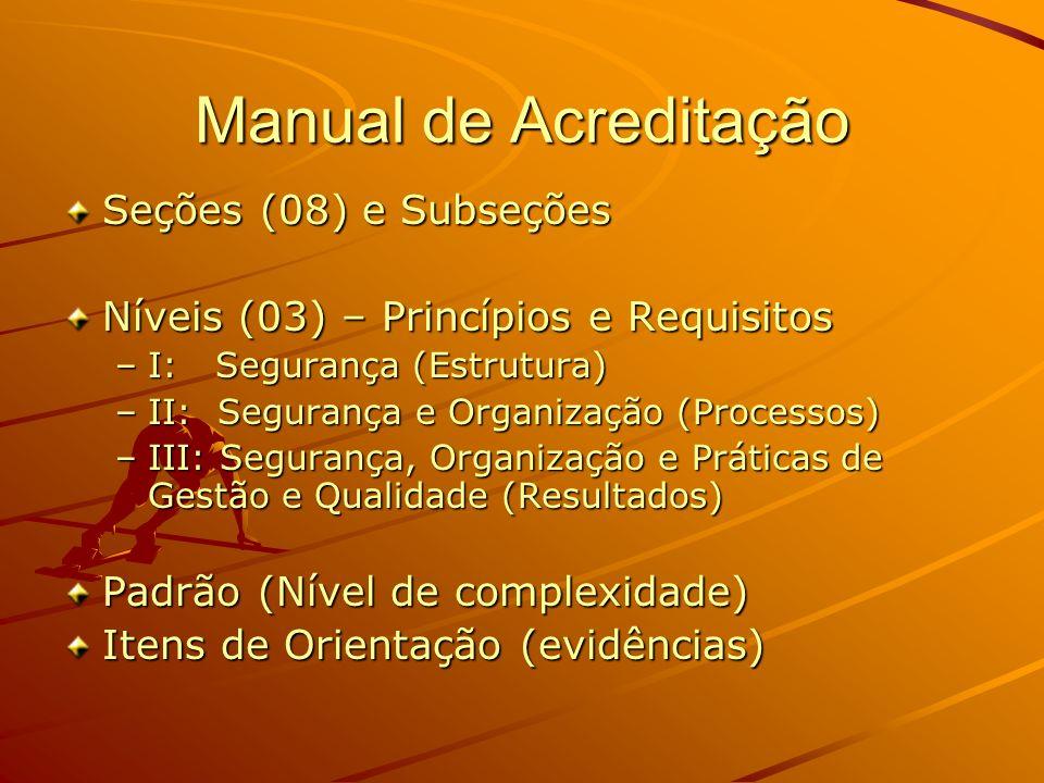 Seção I – Liderança e Administração Subseções –Direção e Liderança Nível 1: Padrão e Itens de Orientação Nível 2: Padrão e Itens de Orientação –Gestão de Pessoas (Níveis 1 e 2, Padrão e IO) –Gestão Administrativa/ Financeira (Níveis 1 e 2, Padrão e IO)