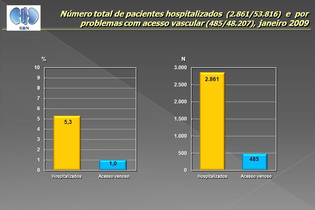 Número total de pacientes hospitalizados (2.861/53.816) e por problemas com acesso vascular (485/48.207), janeiro 2009 N N 2.861 485 Hospitalizados Ac