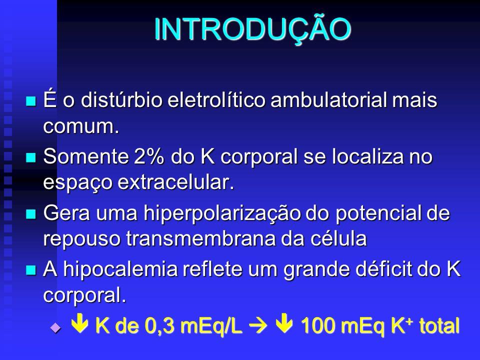 INTRODUÇÃO É o distúrbio eletrolítico ambulatorial mais comum. É o distúrbio eletrolítico ambulatorial mais comum. Somente 2% do K corporal se localiz