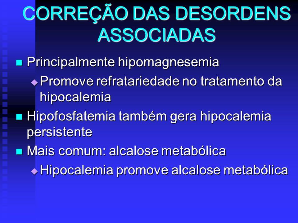 CORREÇÃO DAS DESORDENS ASSOCIADAS Principalmente hipomagnesemia Principalmente hipomagnesemia Promove refratariedade no tratamento da hipocalemia Prom