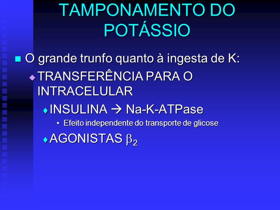 TAMPONAMENTO DO POTÁSSIO O grande trunfo quanto à ingesta de K: O grande trunfo quanto à ingesta de K: TRANSFERÊNCIA PARA O INTRACELULAR TRANSFERÊNCIA
