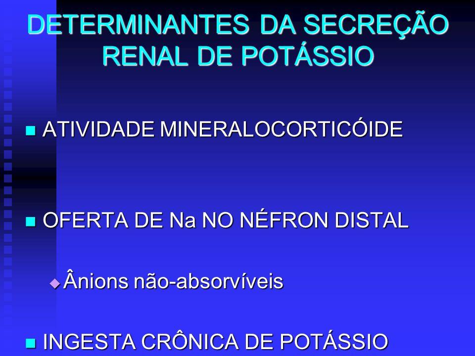 DETERMINANTES DA SECREÇÃO RENAL DE POTÁSSIO ATIVIDADE MINERALOCORTICÓIDE ATIVIDADE MINERALOCORTICÓIDE OFERTA DE Na NO NÉFRON DISTAL OFERTA DE Na NO NÉ