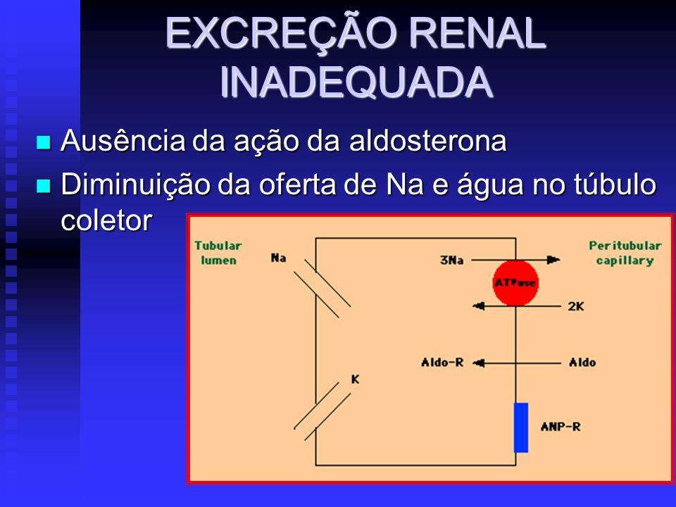 EXCREÇÃO RENAL INADEQUADA Ausência da ação da aldosterona Ausência da ação da aldosterona Diminuição da oferta de Na e água no túbulo coletor Diminuiç