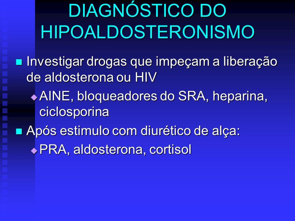 DIAGNÓSTICO DO HIPOALDOSTERONISMO Investigar drogas que impeçam a liberação de aldosterona ou HIV Investigar drogas que impeçam a liberação de aldoste