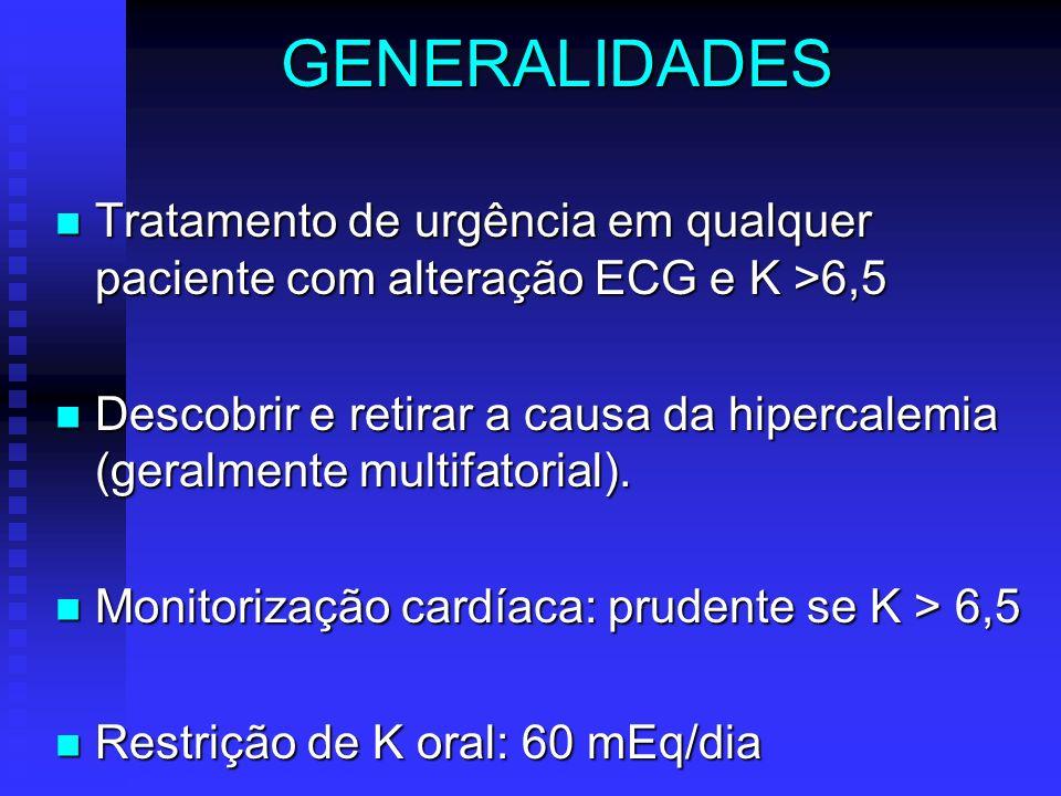 GENERALIDADES Tratamento de urgência em qualquer paciente com alteração ECG e K >6,5 Tratamento de urgência em qualquer paciente com alteração ECG e K