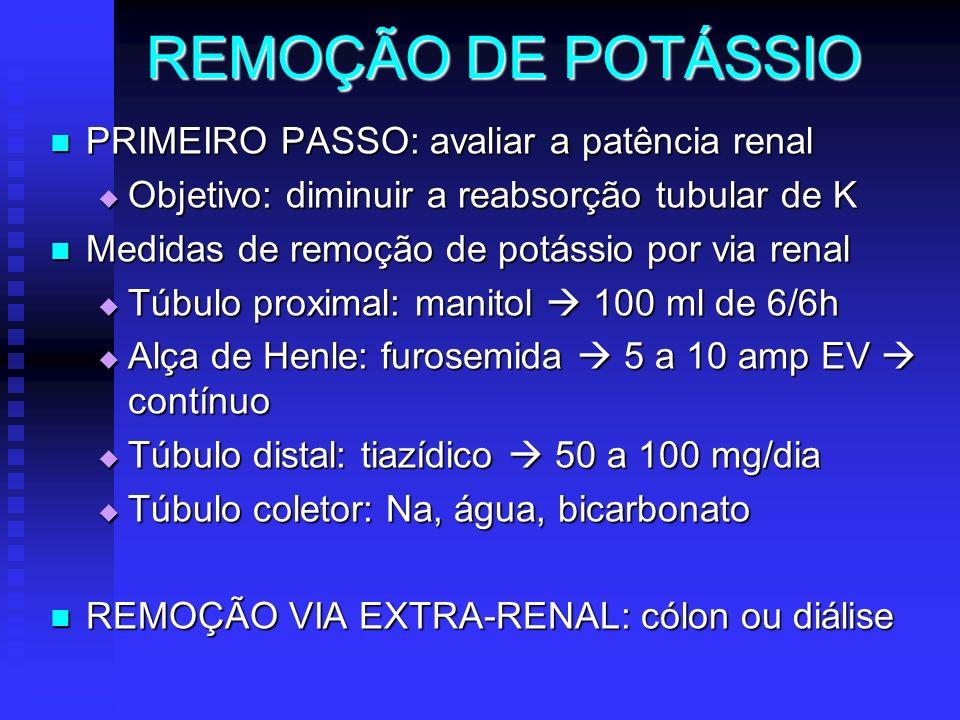 REMOÇÃO DE POTÁSSIO PRIMEIRO PASSO: avaliar a patência renal PRIMEIRO PASSO: avaliar a patência renal Objetivo: diminuir a reabsorção tubular de K Obj