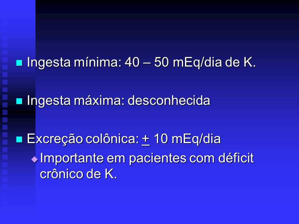 PSEUDO-HIPERCALEMIA SUSPEITA: SUSPEITA: K + hemólise, leucocitose ou trombocitose K + hemólise, leucocitose ou trombocitose Ausência de causas identificáveis Ausência de causas identificáveis Ausência de alterações ECG Ausência de alterações ECG ERRO NA COLETA ERRO NA COLETA Sangue hemolisado Sangue hemolisado Torniquete apertado com atividade física da extremidade 2 mEq/L do K sérico Torniquete apertado com atividade física da extremidade 2 mEq/L do K sérico