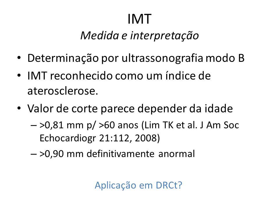 IMT Medida e interpretação Determinação por ultrassonografia modo B IMT reconhecido como um índice de aterosclerose.
