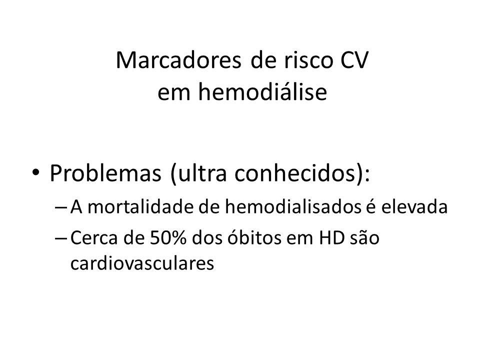 Marcadores de risco CV em hemodiálise Problemas (ultra conhecidos): – A mortalidade de hemodialisados é elevada – Cerca de 50% dos óbitos em HD são cardiovasculares