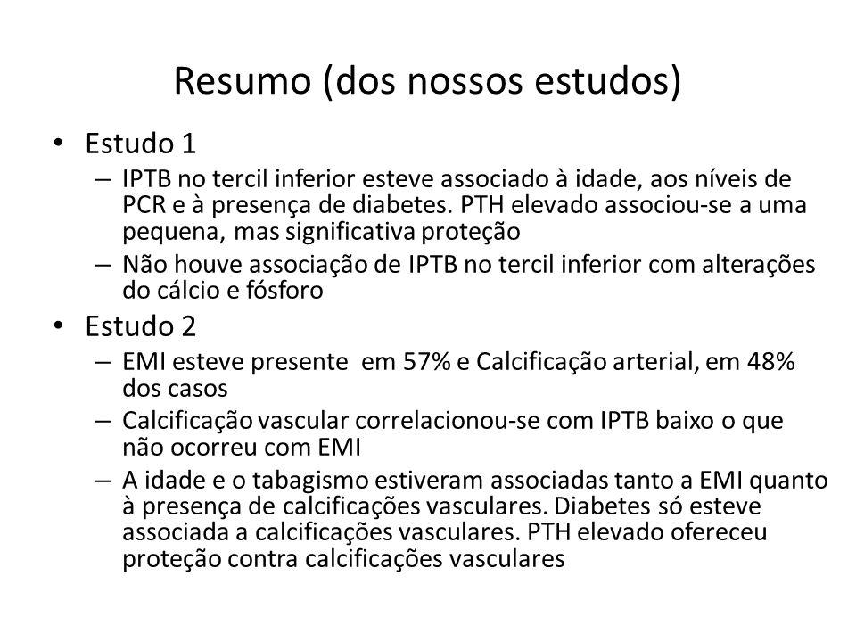 Resumo (dos nossos estudos) Estudo 1 – IPTB no tercil inferior esteve associado à idade, aos níveis de PCR e à presença de diabetes.