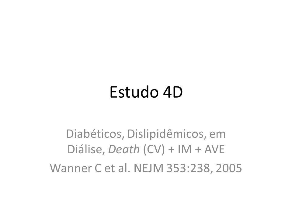 Estudo 4D Diabéticos, Dislipidêmicos, em Diálise, Death (CV) + IM + AVE Wanner C et al.