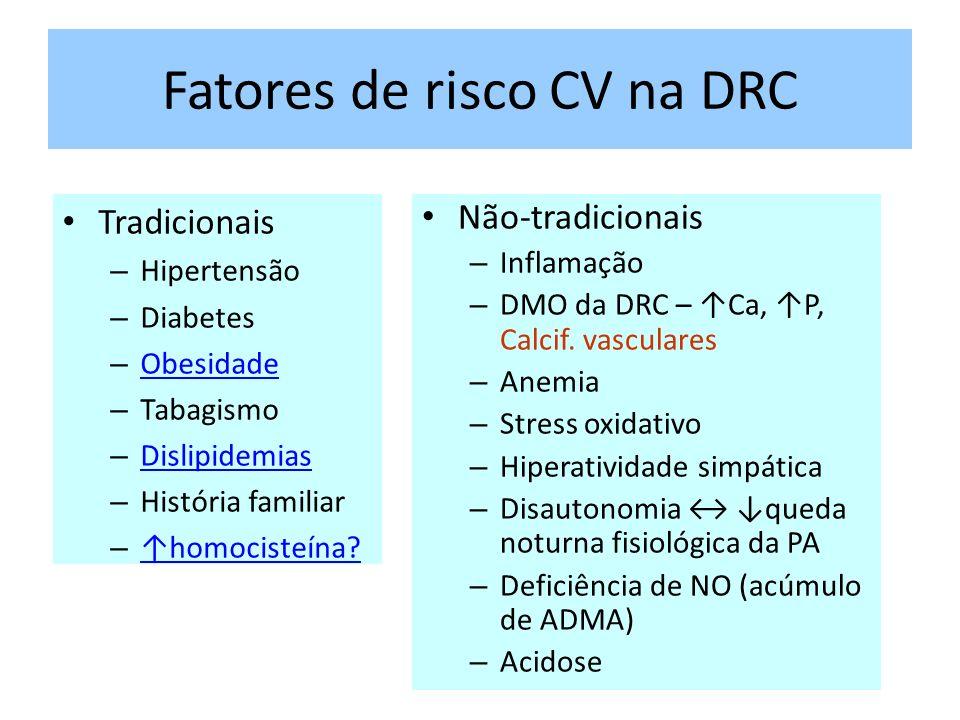Fatores de risco CV na DRC Tradicionais – Hipertensão – Diabetes – Obesidade Obesidade – Tabagismo – Dislipidemias Dislipidemias – História familiar – homocisteína.