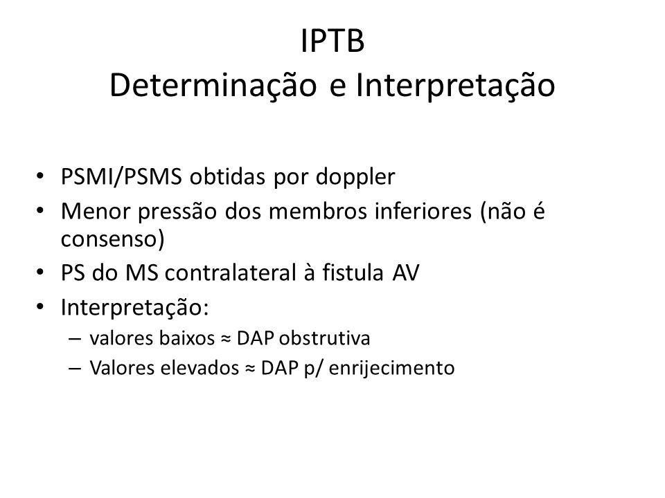 IPTB Determinação e Interpretação PSMI/PSMS obtidas por doppler Menor pressão dos membros inferiores (não é consenso) PS do MS contralateral à fistula AV Interpretação: – valores baixos DAP obstrutiva – Valores elevados DAP p/ enrijecimento