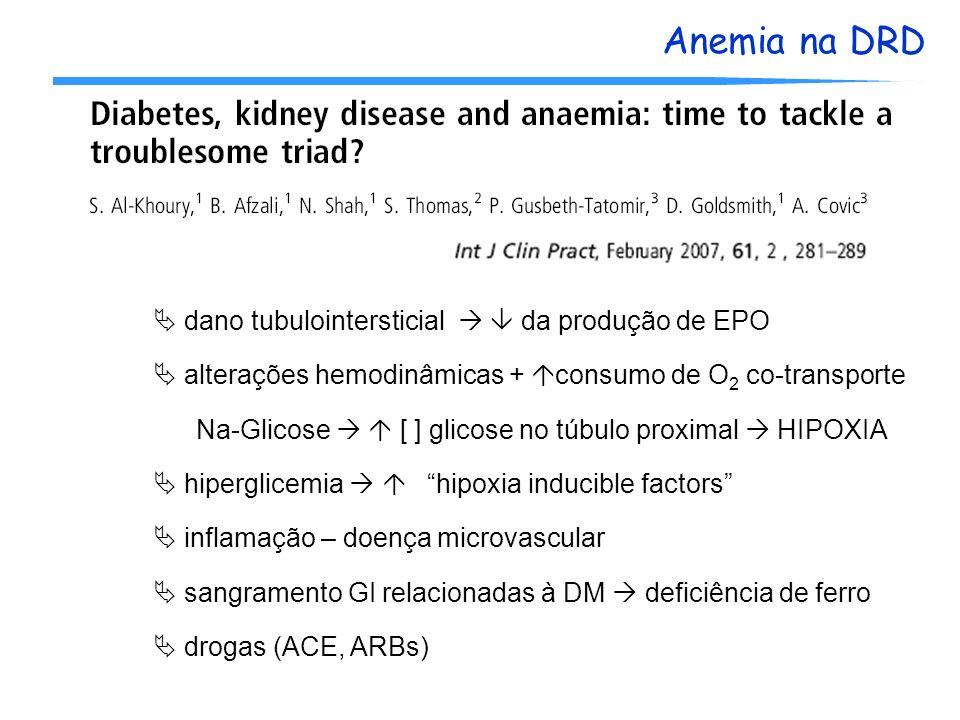 Anemia na DRD dano tubulointersticial da produção de EPO alterações hemodinâmicas + consumo de O 2 co-transporte Na-Glicose [ ] glicose no túbulo prox