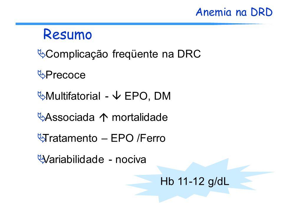 Anemia na DRD Resumo Complicação freqüente na DRC Precoce Multifatorial - EPO, DM Associada mortalidade Tratamento – EPO /Ferro Variabilidade - nociva