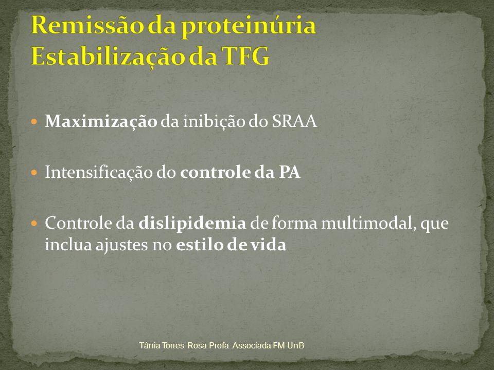 Maximização da inibição do SRAA Intensificação do controle da PA Controle da dislipidemia de forma multimodal, que inclua ajustes no estilo de vida Tâ