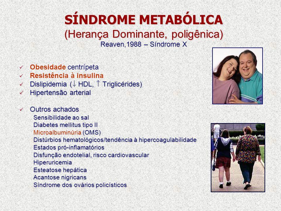 SÍNDROME METABÓLICA (Herança Dominante, poligênica) Reaven,1988 – Síndrome X Obesidade centrípeta Resistência à insulina Dislipidemia ( HDL, Triglicér