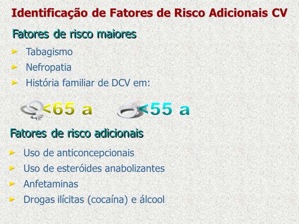 Fatores de risco maiores Tabagismo Nefropatia História familiar de DCV em: Identificação de Fatores de Risco Adicionais CV Fatores de risco adicionais