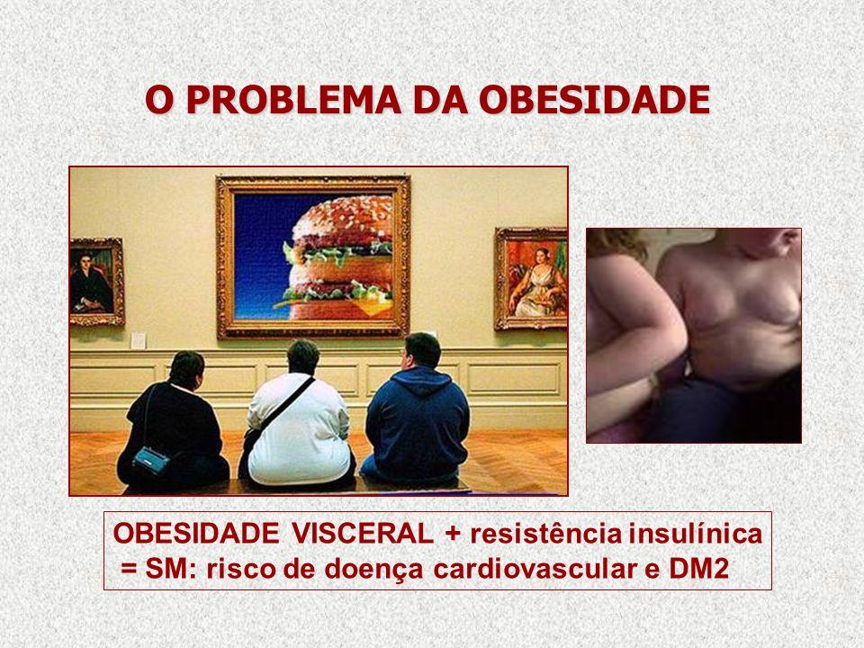 O PROBLEMA DA OBESIDADE OBESIDADE VISCERAL + resistência insulínica = SM: risco de doença cardiovascular e DM2