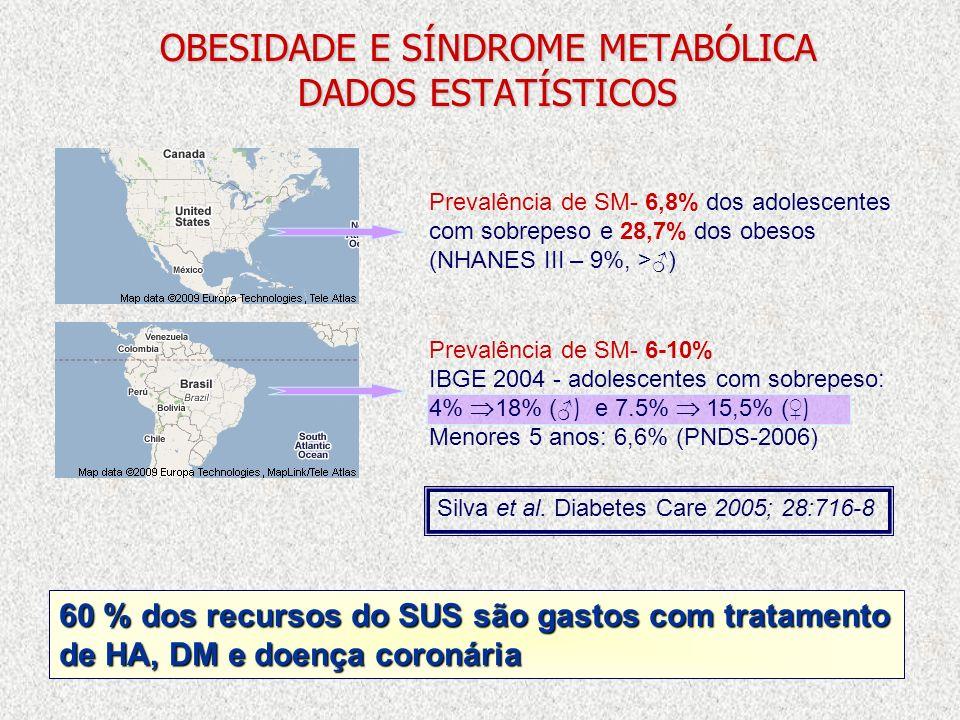 OBESIDADE E SÍNDROME METABÓLICA DADOS ESTATÍSTICOS Prevalência de SM- 6-10% IBGE 2004 - adolescentes com sobrepeso: 4% 18% ( ) e 7.5% 15,5% ( ) Menore