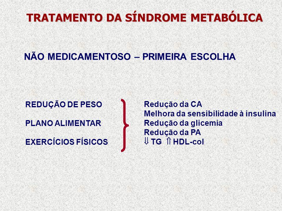 TRATAMENTO DA SÍNDROME METABÓLICA REDUÇÃO DE PESO PLANO ALIMENTAR EXERCÍCIOS FÍSICOS Redução da CA Melhora da sensibilidade à insulina Redução da glic