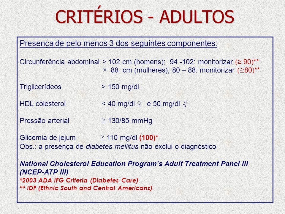 CRITÉRIOS - ADULTOS Presença de pelo menos 3 dos seguintes componentes: Circunferência abdominal > 102 cm (homens); 94 -102: monitorizar ( 90)** > 88