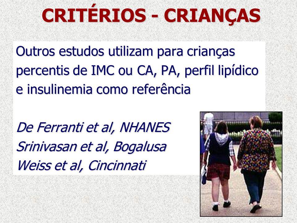 CRITÉRIOS - CRIANÇAS Outros estudos utilizam para crianças percentis de IMC ou CA, PA, perfil lipídico e insulinemia como referência De Ferranti et al