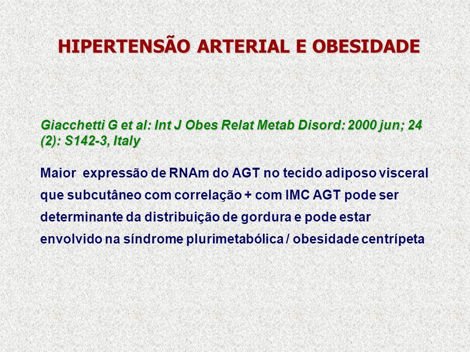 HIPERTENSÃO ARTERIAL E OBESIDADE Giacchetti G et al: Int J Obes Relat Metab Disord: 2000 jun; 24 (2): S142-3, Italy Maior expressão de RNAm do AGT no