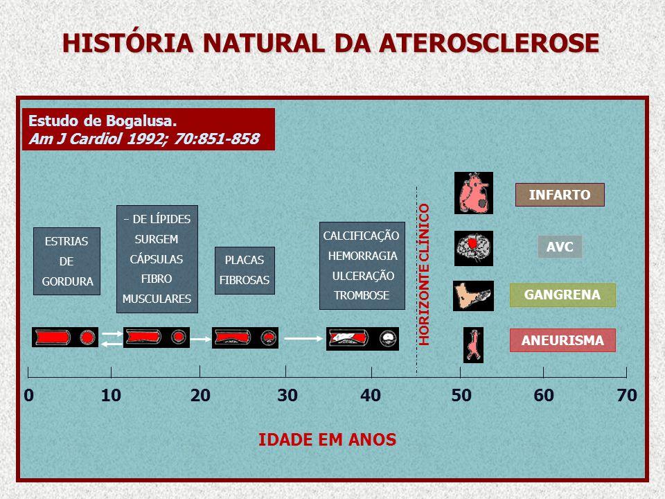 HISTÓRIA NATURAL DA ATEROSCLEROSE 010203040506070 INFARTO AVC GANGRENA ANEURISMA ESTRIAS DE GORDURA DE LÍPIDES SURGEM CÁPSULAS FIBRO MUSCULARES PLACAS